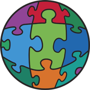 The Accessible Planet Logo: A planet shape, divided into about 10 jigsaw puzzle piece - the center one could be the shape of a human.